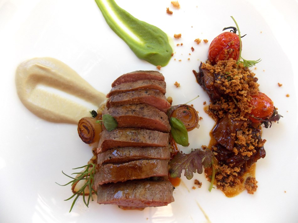 Roasted saddle and braised shoulder of lamb
